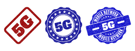5G grunge stamp seals in red and blue colors. Vector 5G labels with grainy texture. Graphic elements are rounded rectangles, rosettes, circles and text labels. Designed for rubber stamp imitations. Vectores
