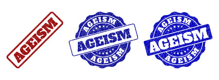 AGEISM grunge stamp seals in red and blue colors. Vector AGEISM overlays with grunge style. Graphic elements are rounded rectangles, rosettes, circles and text titles.