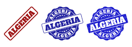 ALGERIA scratched stamp seals in red and blue colors. Vector ALGERIA overlays with draft surface. Graphic elements are rounded rectangles, rosettes, circles and text labels. Illustration