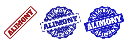 ALIMONY grunge stamp seals in red and blue colors. Vector ALIMONY labels with distress texture. Graphic elements are rounded rectangles, rosettes, circles and text labels.