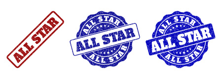 ALL STAR scratched stamp seals in red and blue colors. Vector ALL STAR signs with draft style. Graphic elements are rounded rectangles, rosettes, circles and text captions.
