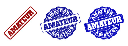 AMATEUR grunge stamp seals in red and blue colors. Vector AMATEUR watermarks with grunge effect. Graphic elements are rounded rectangles, rosettes, circles and text labels. Illustration