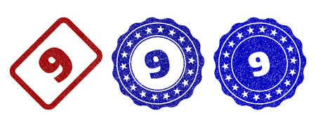 9 scratched stamp seals in red and blue colors. Vector 9 labels with draft style. Graphic elements are rounded rectangles, rosettes, circles and text labels. Designed for rubber stamp imitations.