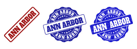 ANN ARBOR grunge stamp seals in red and blue colors. Vector ANN ARBOR marks with grunge effect. Graphic elements are rounded rectangles, rosettes, circles and text titles.