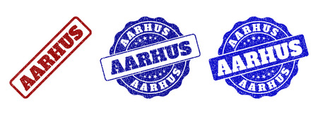 AARHUS grunge stamp seals in red and blue colors. Vector AARHUS imprints with grunge effect. Graphic elements are rounded rectangles, rosettes, circles and text captions. Illustration
