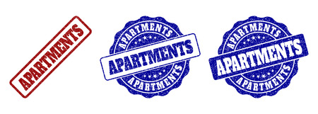 APARTMENTS grunge stamp seals in red and blue colors. Vector APARTMENTS marks with grunge texture. Graphic elements are rounded rectangles, rosettes, circles and text captions.