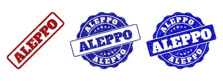 Sellos de sello rayados ALEPPO en colores rojo y azul. Etiquetas vectoriales ALEPPO con superficie granulada. Los elementos gráficos son rectángulos redondeados, rosetas, círculos y títulos de texto.