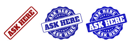 ASK HERE scratched stamp seals in red and blue colors. Vector ASK HERE imprints with grunge effect. Graphic elements are rounded rectangles, rosettes, circles and text labels. Illustration