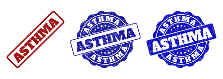 ASTHMA scratched stamp seals in red and blue colors. Vector ASTHMA marks with scratced surface. Graphic elements are rounded rectangles, rosettes, circles and text tags. Illustration