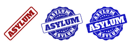 ASYLUM grunge stamp seals in red and blue colors. Vector ASYLUM marks with grunge surface. Graphic elements are rounded rectangles, rosettes, circles and text labels. Illustration