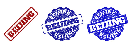 BEIJING grunge stamp seals in red and blue colors. Vector BEIJING watermarks with distress style. Graphic elements are rounded rectangles, rosettes, circles and text tags.