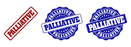 PALLIATIVE scratched stamp seals in red and blue colors. Vector PALLIATIVE overlays with grunge effect. Graphic elements are rounded rectangles, rosettes, circles and text labels.