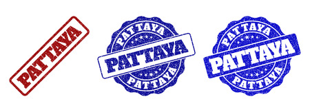 PATTAYA grunge stamp seals in red and blue colors. Vector PATTAYA labels with grunge style. Graphic elements are rounded rectangles, rosettes, circles and text titles. 向量圖像