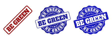 BE GREEN grunge stamp seals in red and blue colors. Vector BE GREEN imprints with grunge texture. Graphic elements are rounded rectangles, rosettes, circles and text captions.