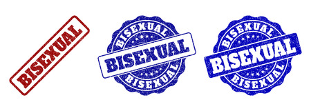 BISEXUAL grunge stamp seals in red and blue colors. Vector BISEXUAL overlays with grunge texture. Graphic elements are rounded rectangles, rosettes, circles and text tags.