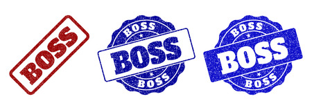 BOSS grunge stamp seals in red and blue colors. Vector BOSS imprints with grunge style. Graphic elements are rounded rectangles, rosettes, circles and text labels. Illustration