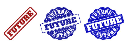 FUTURE scratched stamp seals in red and blue colors. Vector FUTURE labels with grunge effect. Graphic elements are rounded rectangles, rosettes, circles and text captions.