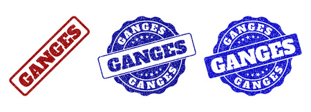 GANGES scratched stamp seals in red and blue colors. Vector GANGES labels with grainy effect. Graphic elements are rounded rectangles, rosettes, circles and text labels.