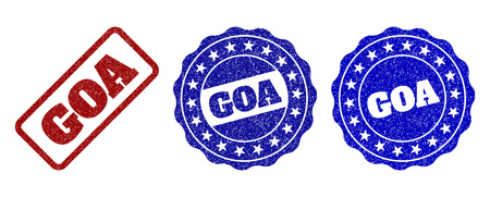 GOA scratched stamp seals in red and blue colors. Vector GOA labels with grainy style. Graphic elements are rounded rectangles, rosettes, circles and text labels. Designed for rubber stamp imitations.