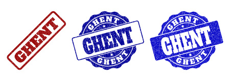 GHENT grunge stamp seals in red and blue colors. Vector GHENT signs with grunge texture. Graphic elements are rounded rectangles, rosettes, circles and text captions.