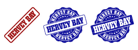 HERVEY BAY scratched stamp seals in red and blue colors. Vector HERVEY BAY watermarks with draft effect. Graphic elements are rounded rectangles, rosettes, circles and text titles.