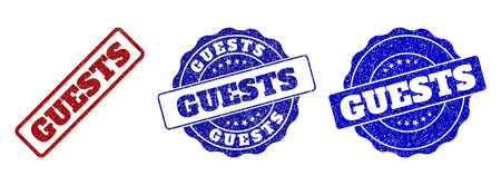 GUESTS grunge stamp seals in red and blue colors. Vector GUESTS overlays with grunge effect. Graphic elements are rounded rectangles, rosettes, circles and text labels.