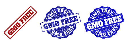GMO FREE grunge stamp seals in red and blue colors. Vector GMO FREE labels with grunge surface. Graphic elements are rounded rectangles, rosettes, circles and text captions.