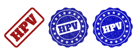 HPV grunge stamp seals in red and blue colors. Vector HPV watermarks with grunge surface. Graphic elements are rounded rectangles, rosettes, circles and text titles. Stock Vector - 127250241