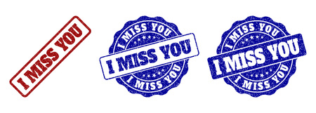 I MISS YOU grunge stamp seals in red and blue colors. Vector I MISS YOU imprints with grunge effect. Graphic elements are rounded rectangles, rosettes, circles and text titles.