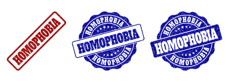 HOMOPHOBIA grunge stamp seals in red and blue colors. Vector HOMOPHOBIA overlays with grunge style. Graphic elements are rounded rectangles, rosettes, circles and text labels. Ilustração