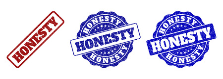HONESTY scratched stamp seals in red and blue colors. Vector HONESTY labels with dirty texture. Graphic elements are rounded rectangles, rosettes, circles and text labels.