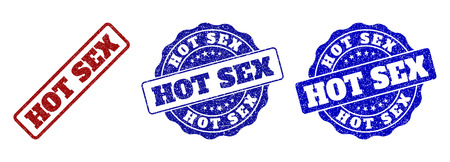 HOT SEX grunge stamp seals in red and blue colors. Vector HOT SEX labels with draft style. Graphic elements are rounded rectangles, rosettes, circles and text labels.