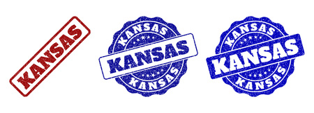 KANSAS grunge stamp seals in red and blue colors. Vector KANSAS labels with grainy surface. Graphic elements are rounded rectangles, rosettes, circles and text labels.