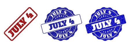 JULY 4 grunge stamp seals in red and blue colors. Vector JULY 4 overlays with grainy texture. Graphic elements are rounded rectangles, rosettes, circles and text titles. 일러스트