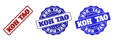 KOH TAO grunge stamp seals in red and blue colors. Vector KOH TAO watermarks with grunge effect. Graphic elements are rounded rectangles, rosettes, circles and text titles.
