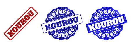 KOUROU grunge stamp seals in red and blue colors. Vector KOUROU labels with scratced style. Graphic elements are rounded rectangles, rosettes, circles and text labels. Vector Illustration