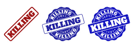 KILLING grunge stamp seals in red and blue colors. Vector KILLING labels with draft effect. Graphic elements are rounded rectangles, rosettes, circles and text labels.