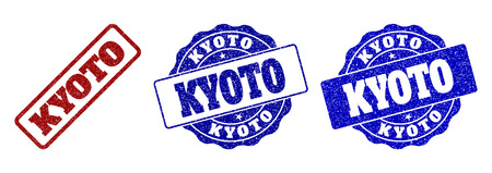 KYOTO scratched stamp seals in red and blue colors. Vector KYOTO labels with grunge surface. Graphic elements are rounded rectangles, rosettes, circles and text labels.
