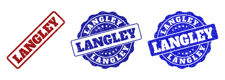 LANGLEY scratched stamp seals in red and blue colors. Vector LANGLEY signs with dirty effect. Graphic elements are rounded rectangles, rosettes, circles and text captions.