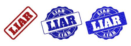Sellos de sello rayado LIAR en colores rojo y azul. Vector de signos de mentiroso con estilo de angustia. Los elementos gráficos son rectángulos redondeados, rosetas, círculos y leyendas de texto.