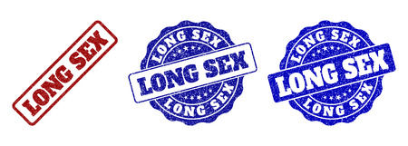 LONG SEX grunge stamp seals in red and blue colors. Vector LONG SEX labels with scratced surface. Graphic elements are rounded rectangles, rosettes, circles and text labels. Illustration