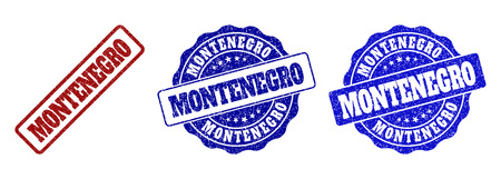 MONTENEGRO grunge stamp seals in red and blue colors. Vector MONTENEGRO labels with draft surface. Graphic elements are rounded rectangles, rosettes, circles and text labels.