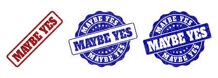 MAYBE YES grunge stamp seals in red and blue colors. Vector MAYBE YES labels with grainy surface. Graphic elements are rounded rectangles, rosettes, circles and text labels. 写真素材 - 127250506