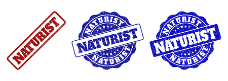 NATURIST scratched stamp seals in red and blue colors. Vector NATURIST labels with distress effect. Graphic elements are rounded rectangles, rosettes, circles and text labels.
