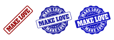 MAKE LOVE grunge stamp seals in red and blue colors. Vector MAKE LOVE imprints with grunge style. Graphic elements are rounded rectangles, rosettes, circles and text titles.