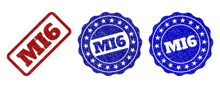 MI6 grunge stamp seals in red and blue colors. Vector MI6 watermarks with grunge texture. Graphic elements are rounded rectangles, rosettes, circles and text captions.