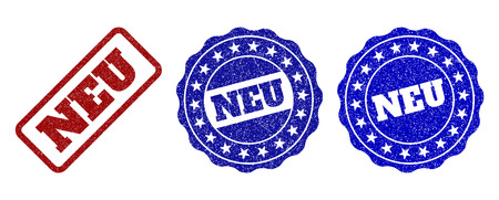 NEU grunge stamp seals in red and blue colors. Vector NEU labels with dirty surface. Graphic elements are rounded rectangles, rosettes, circles and text labels. Designed for rubber stamp imitations.