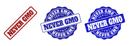 NEVER GMO grunge stamp seals in red and blue colors. Vector NEVER GMO watermarks with grunge effect. Graphic elements are rounded rectangles, rosettes, circles and text captions.