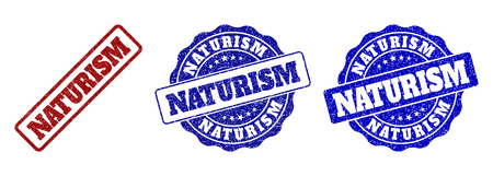 NATURISM grunge stamp seals in red and blue colors. Vector NATURISM overlays with dirty surface. Graphic elements are rounded rectangles, rosettes, circles and text captions.