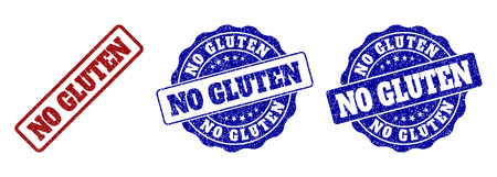 NO GLUTEN grunge stamp seals in red and blue colors. Vector NO GLUTEN imprints with grunge surface. Graphic elements are rounded rectangles, rosettes, circles and text tags.